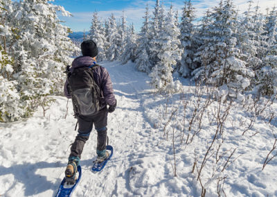 Young man snowshoeing in winter